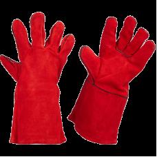 Краги спилковые замшевые усиленные красные для сварщиков